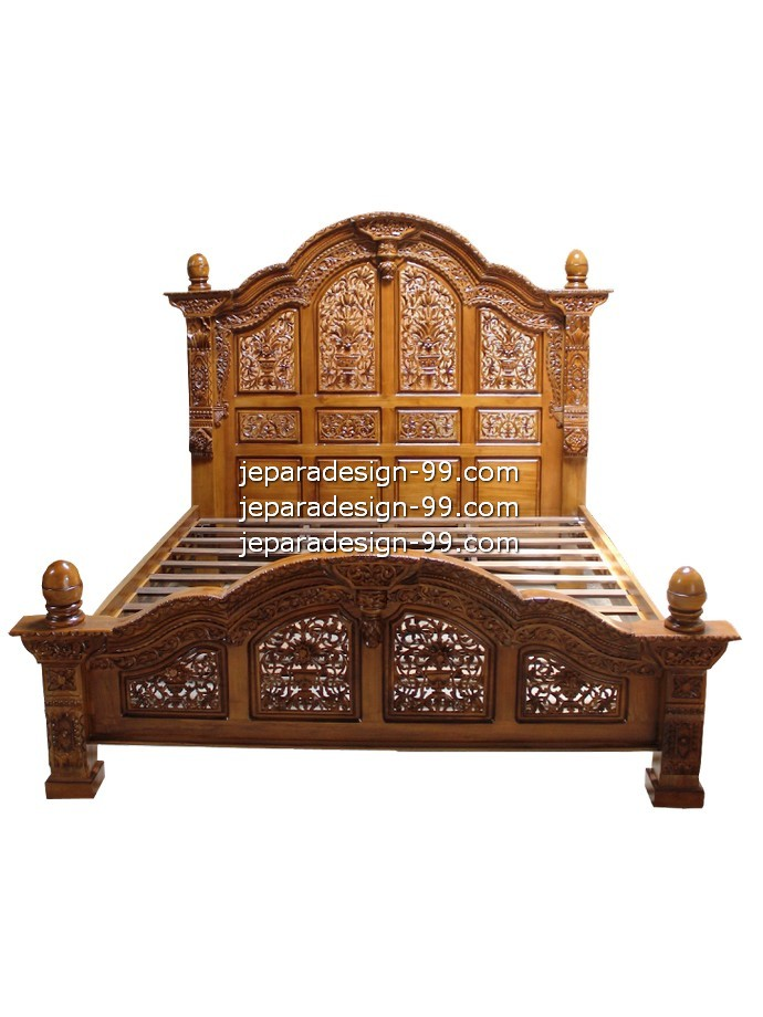 Antique Bed with Wood Natural Color BD-028